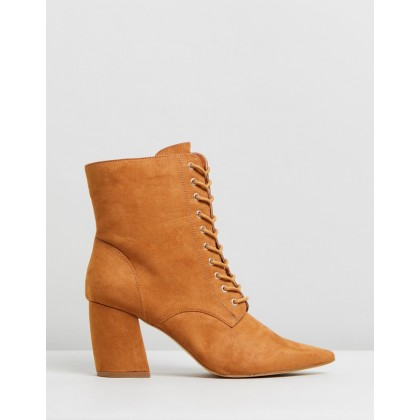 Giselle Pointed Lace-Up Boots Tan Micro by Rubi