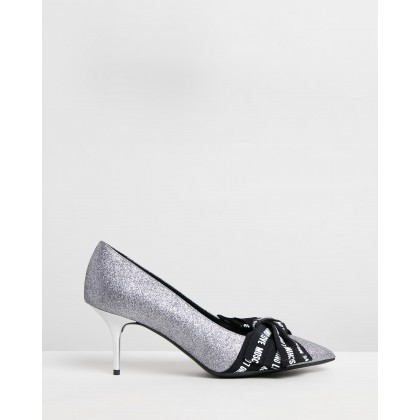 Glitter Grosgrain Pumps Black & Silver by Love Moschino