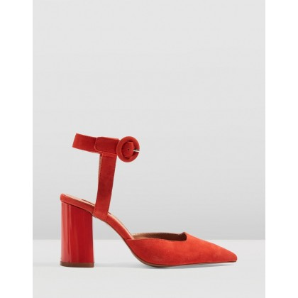 Graceful Ankle Strap Heels Red by Topshop