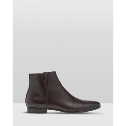 Grant Leather Boots Dark Brown by Oxford