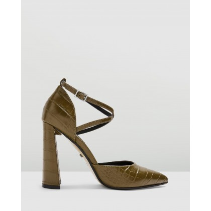 Grape Flare Heels Olive by Topshop