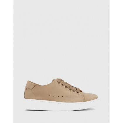 Graphite Lace Up Sneakers Tan by Wittner