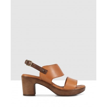 Greta Block Sandals Tan 8402/brown8414 by S By Sempre Di