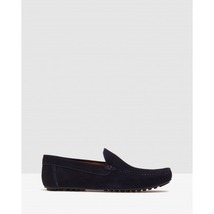 Gunner Suede Slip On Shoes Navy by Oxford
