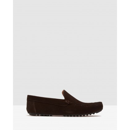 Gunner Suede Slip On Shoes Dark Brown by Oxford