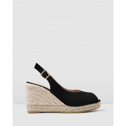 Gwen High Heel Wedge Espadrilles Black Suede by Jo Mercer
