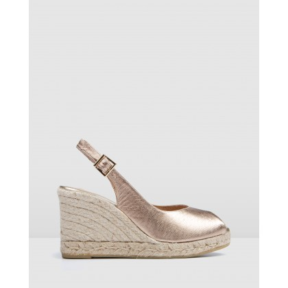 Gwen High Heel Wedge Espadrilles Rose Gold by Jo Mercer