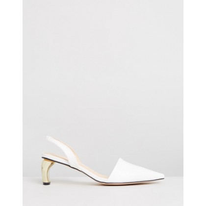 Gwen Leather Heels White Croc by Atmos&Here