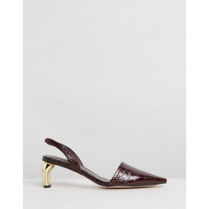 Gwen Leather Heels Brown Croc by Atmos&Here