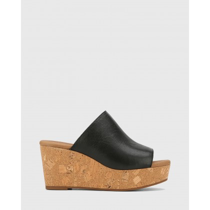 Hadleigh Leather Wedge Heels Black by Wittner