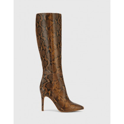 Hallow Stiletto Heel Long Boots Brown by Wittner