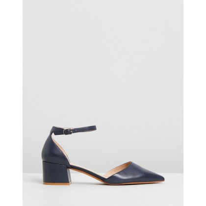 Halsey Mid Heels Navy Leather by Jo Mercer