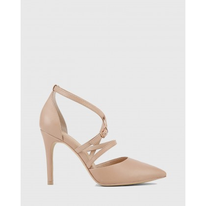 Hanisha Leather Pointed Toe Stiletto Heels Nude by Wittner