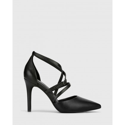 Hanisha Leather Pointed Toe Stiletto Heels Black by Wittner