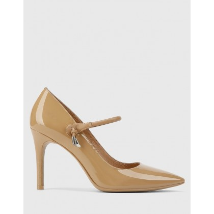 Hanner Patent & Suede Leather Stiletto Heels Tan by Wittner