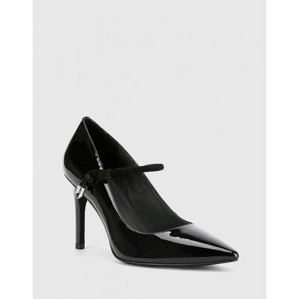 Hanner Patent & Suede Leather Stiletto Heels Black by Wittner