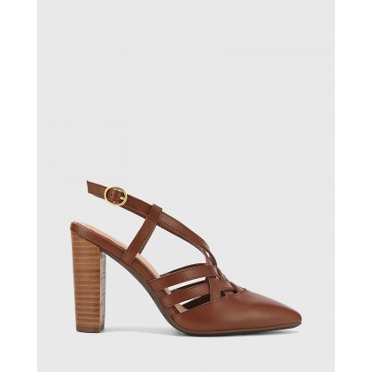 Hao Leather Pointed Toe Block Heels Brown by Wittner