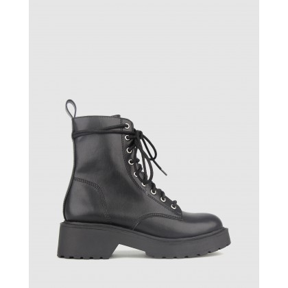 Hardcore Chunky Lace Up Boots Black by Betts