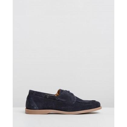 Hardwick Suede Deck Shoes Navy by Double Oak Mills