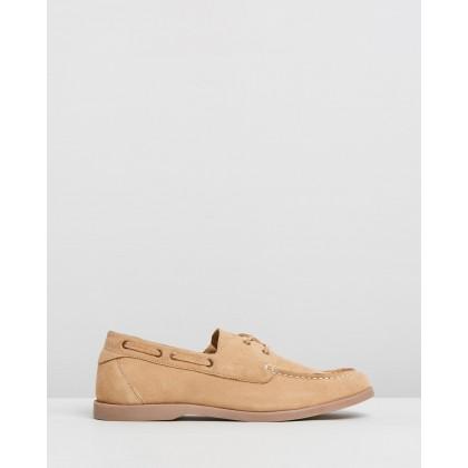 Hardwick Suede Deck Shoes Luggage by Double Oak Mills