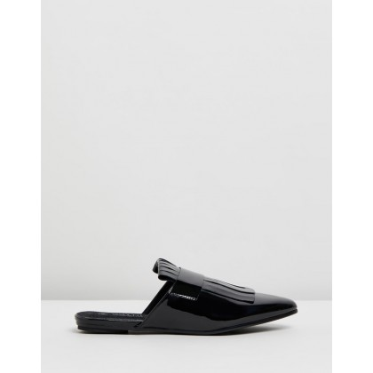 Harley Patent Fringe Mules Black by Walnut Melbourne