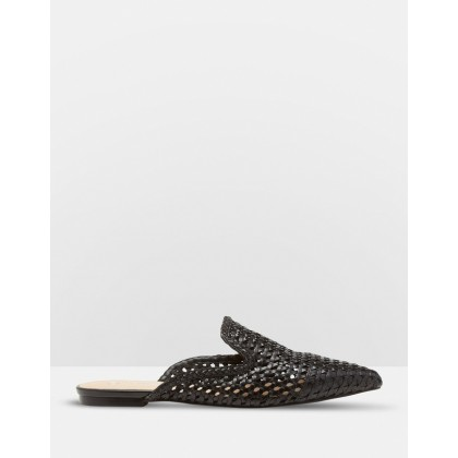Harlow Leather Woven Flats Black by Oxford