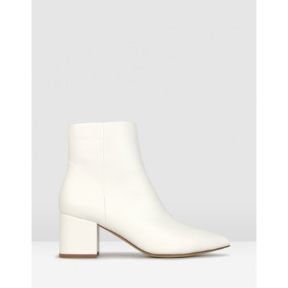 Harper Block Heel Ankle Boots White by Betts