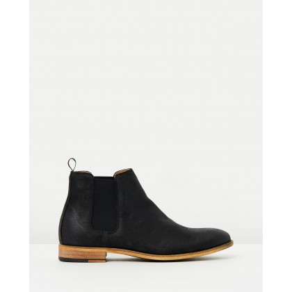 Harrison Oiled Suede Gusset Boots Black by Double Oak Mills