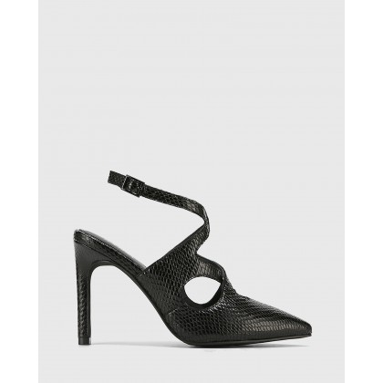Hasoni Leather Pointed Toe Stiletto Heels Black by Wittner