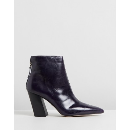 Hawk Angled Booties Navy Blue by Topshop