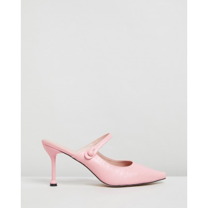 Hazel Leather Heels Pink Croc Leather by Atmos&Here