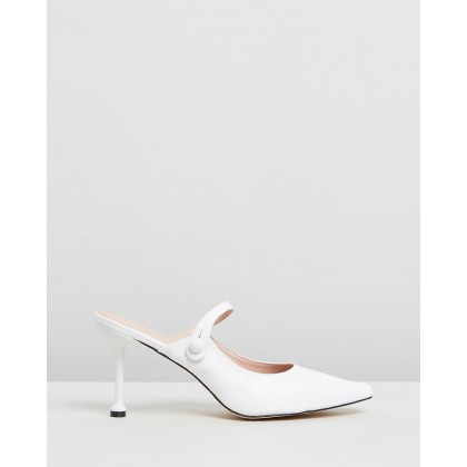 Hazel Leather Heels White Croc Leather by Atmos&Here