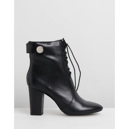 Hazel Leather Lace Boots Black by Walnut Melbourne