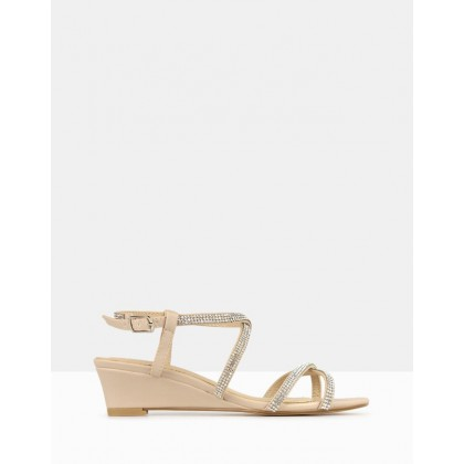 Heart Bling Strap Low Wedges Nude by Betts
