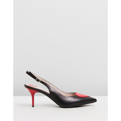 Heart Slingbacks Black Calf by Love Moschino