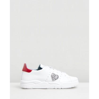 Heart Sneakers White & Red by Chiara Ferragni