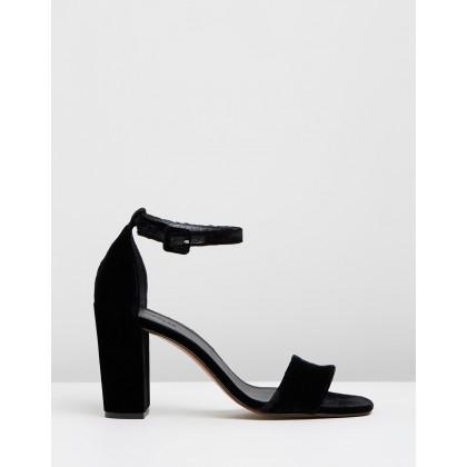 Hedda Velvet Block Heel Sandals Black by Whistles