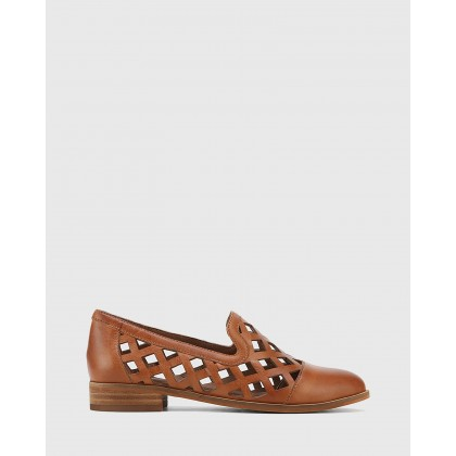 Heeva Nappa Leather Almond Toe Flats Tan by Wittner