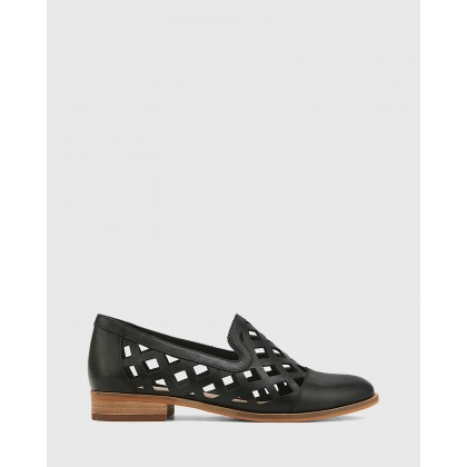 Heeva Nappa Leather Almond Toe Flats Black by Wittner