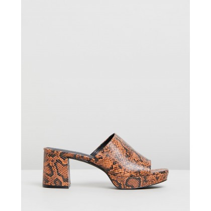 Heidi Leather Heels Brown Snakeskin by Atmos&Here