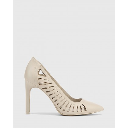 Heily Leather Pointed Toe Stiletto Heels Grey by Wittner