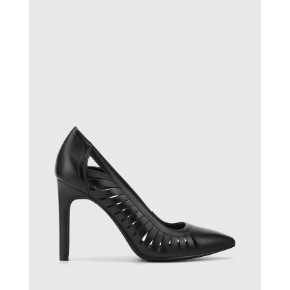 Heily Leather Pointed Toe Stiletto Heels Black by Wittner