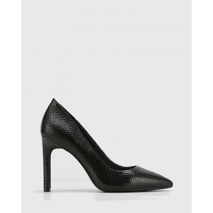 Hermina Leather Pointed Toe Stilettos Black by Wittner