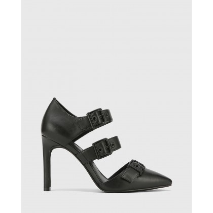 Hetika Leather Pointed Toe Stiletto Heels Black by Wittner