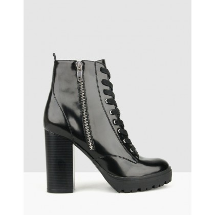 Hike Heeled Military Boots Black by Betts