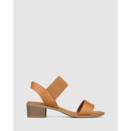 Honey Wide Fit Block Heel Sandals Tan by Betts