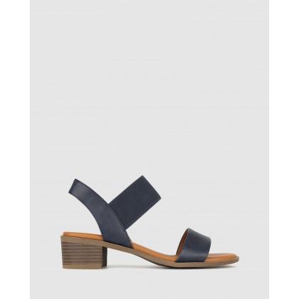 Honey Wide Fit Block Heel Sandals Navy by Betts