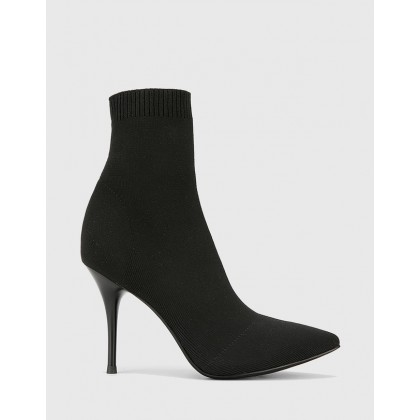 Honor Pointed Toe Stiletto Heel Ankle Boots Black by Wittner