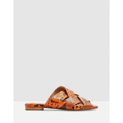 Hop Neon Flat Sandals Orange by Topshop