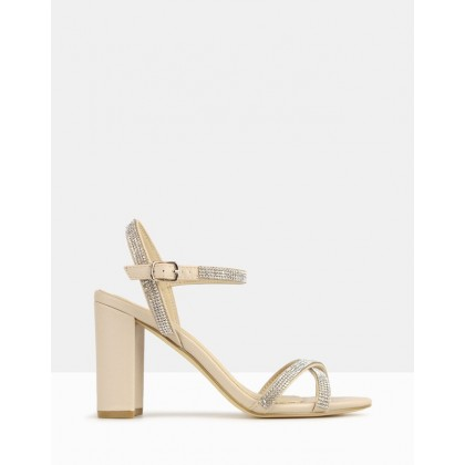 Hopeful Bling Strap Block Heels Nude by Betts
